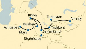 Silk road ashgabat to almaty map